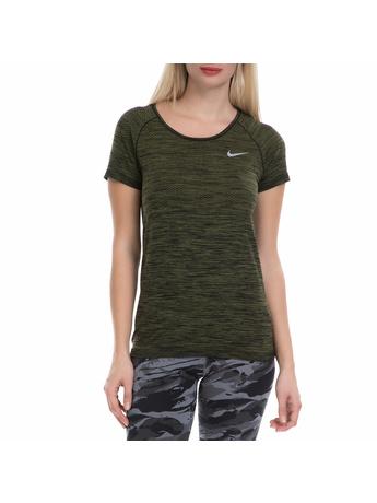 NIKE - Γυναικεία αθλητική μπλούζα NΙKΕ DF KNIT TOP χακί-μαύρη