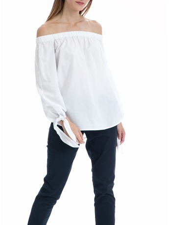 SCOTCH & SODA - Μπλούζα Off the shoulder MAISON SCOTCH λευκή