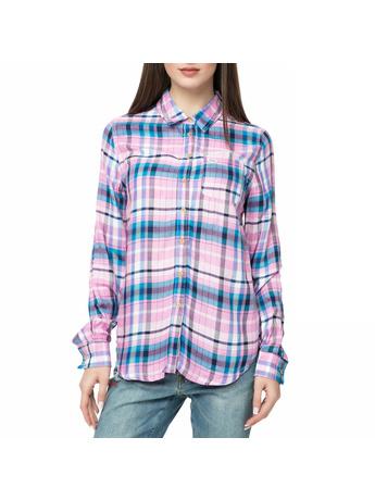 46f9196d91 FUNKY BUDDHA - Γυναικείο πουκάμισο FUNKY BUDDHA με καρό μοτίβο ροζ-μπλε