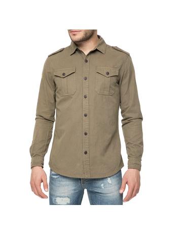 8e9b223b2107 FUNKY BUDDHA - Ανδρικό μακρυμάνικο πουκάμισο FUNKY BUDDHA λαδί