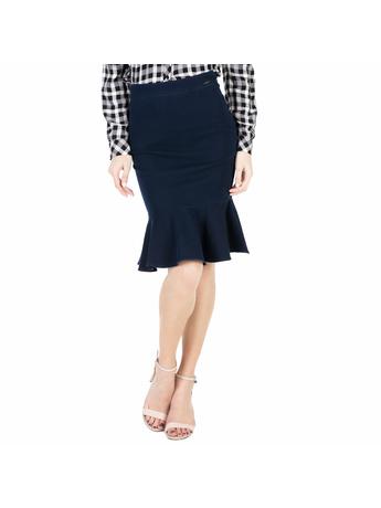 GUESS - Γυναικεία midi φούστα με βολάν Guess RUFFLE σκούρη μπλε