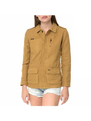 FUNKY BUDDHA - Γυναικείο μακρυμάνικο jacket FUNKY BUDDHA κάμελ