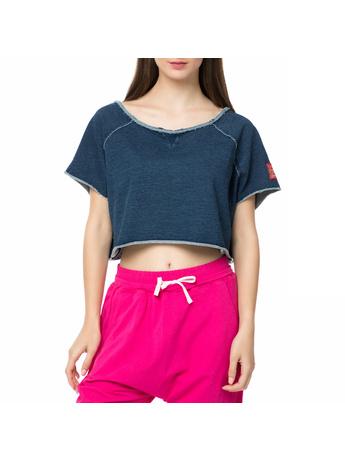BODYTALK - Γυναικείο crop top DENIMW FAME TOP μπλε