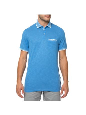 TED BAKER - Ανδρική κοντομάνικη πόλο μπλούζα TED BAKER DALMAT γαλάζια
