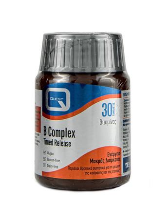 Quest Mega B 100 Timed Release Συμπλήρωμα Διατροφής Βραδείας Αποδέσμευσης για