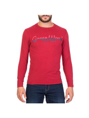 GREENWOOD - Ανδρική μακρυμάνικη μπλούζα GREENWOOD κόκκινη
