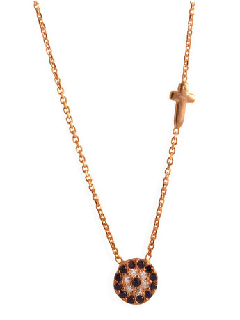 Κολιέ ματάκι με σταυρουδάκι από ρόζ επιχρυσωμένο ασήμι και πέτρες ζιργκόν 7afbfed1b76