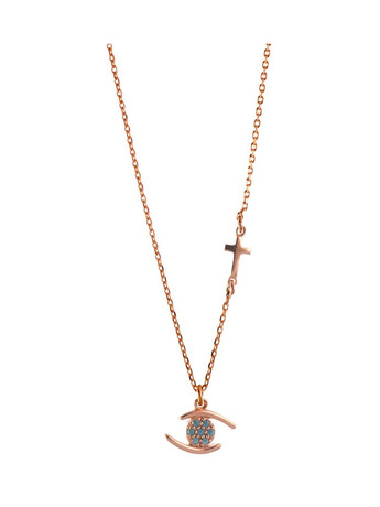 Κολιέ με ματάκι και σταυρουδάκι σε ρόζ επιχρυσωμένο ασήμι με τιρκουάζ a8b9239ff1e